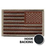 Reversed American flag patch in desert color with hook backing