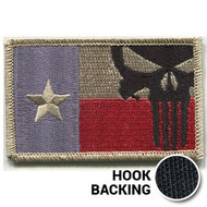 Desert Texas flag patch with Punisher skull & hook backing