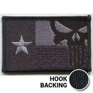 Black Texas flag patch with Punisher skull with hook backing