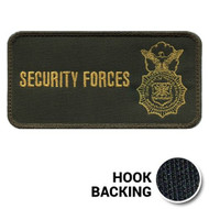 "6"" x 3"" SF ID Panel - embroidered on olive drab background with yellow text and emblem"
