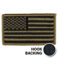 Embroidered American flag patch with hook backing in OCP Multicam