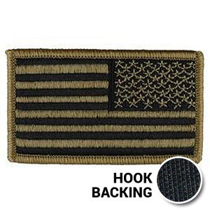 Embroidered Reverse American flag patch with hook backing in OCP Multicam