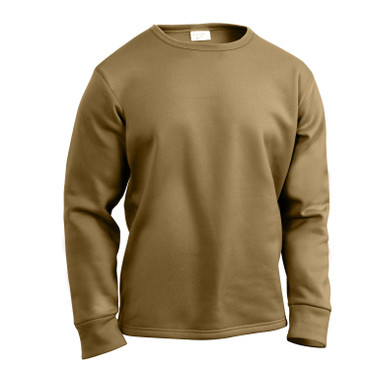 Rothco ECWCS Poly Crew Neck Top in Coyote Brown, Front View