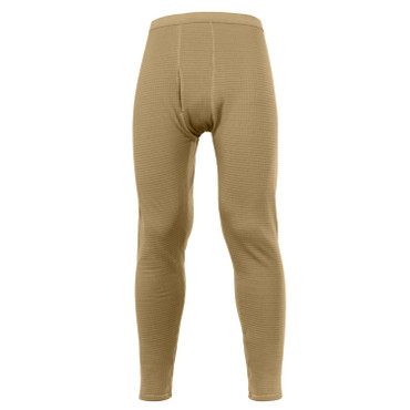 Rothco ECWCS Gen III Mid-Weight Underwear Bottoms (Level II) in Coyote Brown, Front View