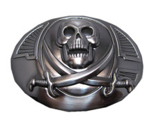 Oval Skull with Two Knives With Shaded Background