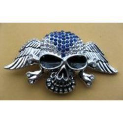 Silver Skull and Cross Bones with Wings