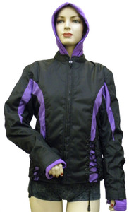 Ladies Cordura Crystal Jacket W/ Hooded Sweatshirt Blk/Purple