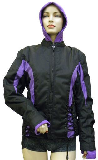 Ladies Cordura Crystal Jacket W/ Hooded Sweatshirt Blk/Purple