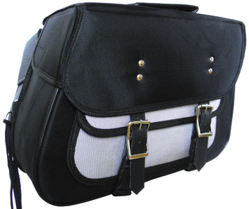 Textile Zip-Off Saddle Bags Black & Gray