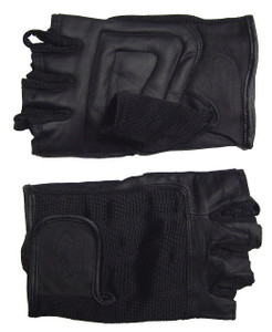 MEN'S FINGERLESS WATERPROOF LEATHER, SUMMER TOURING CHOPPER GLOVES WITH DOUBLE PADDED PALM