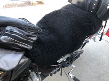 Motorcycle Seat SheepSkins Cover.  Fits Big Bikes Up and Onto the Back Passenger Seat.