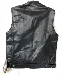 Single panel seamless back on leather club vest