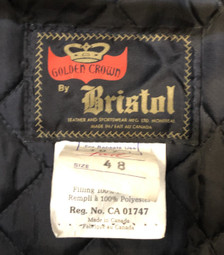 Bristol Leather Montreal, Canada Aviator jacket size 48
