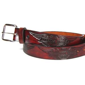 "1.5"" Antique Belt - American Biker Wings, Genuine Leather, Made in U.S.A."