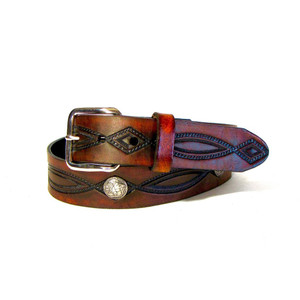 Genuine Made in U.S.A. Leather Belt with Buffalo Nickel Conchos