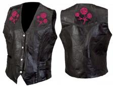 Red Embroidered Rose Vest