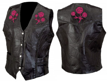 Red Embroidered Rose Vest