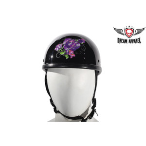 Womens Shiny Eagle StylWomens Shiny Eagle Style Novelty Helmet With Purple Rose Tribal Designe Novelty Helmet With Purple Rose Tribal Design