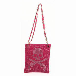 Skull Cross Guns Messenger Bag - Fuchsia, Turquoise, Beige