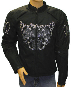 Men's Textile Jacket W/ Vents and Reflective Skull
