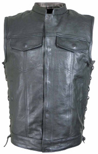 Men's Naked Leather Lace Side Patch Holder Vest