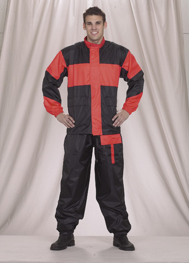 Unisex Motorcycle Rain Suit Black and Red