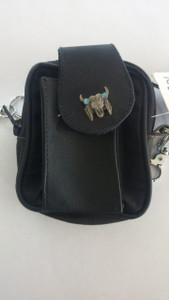 Small Belt Loop Purse with Steer Head and Feather Emblem