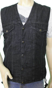 Black denim vest.