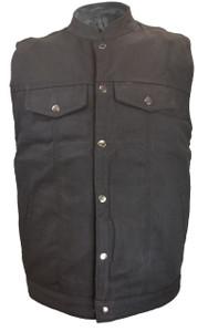 Black button vest.