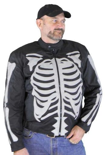 Men's Textile Jacket W/Gray Reflective Skeleton & Armor