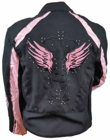Ladies Textile Jacket W/Pink Reflective Wings & Embroidery