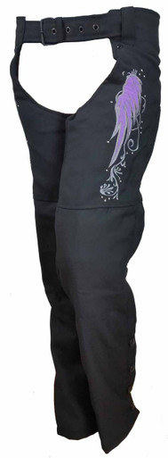 Ladies Textile Chaps W/Purple Reflective Wings & Embroidery