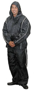 Unisex Heay Duty Rain Suite Black with Grey Stripe