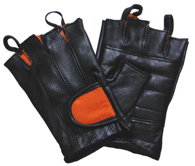 Black & Orange Padded Palm Fingerless Glove W/Pull Tabs