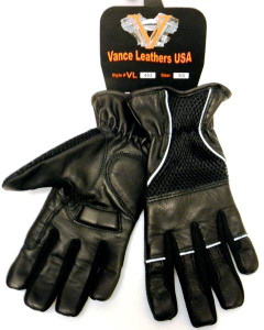 Mesh & Leather gloves with padded leather palms, reflective piping and elastic cuff