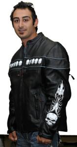 Men's Reflective Skull Jacket with fron Pockets