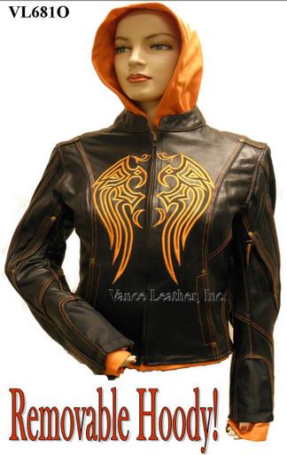 Ladies Leather Jacket W/Orange Embroidery & Removable Sweatshirt