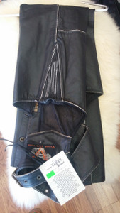 Brown TG Leather Chaps with Tan Pipping