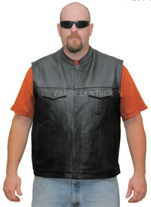 Premium Leather Patch Holder Vest Black Lining