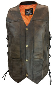 Men's Antiqued Retro Brown 10 Pocket Vest