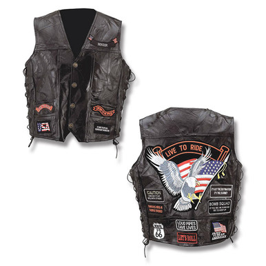 Diamond Plate Genuine Buffalo Leather Biker Vest