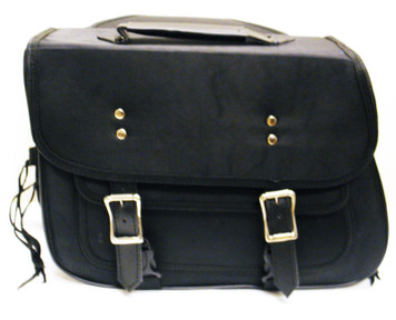 Black Textile Zip-Off Saddle Bags