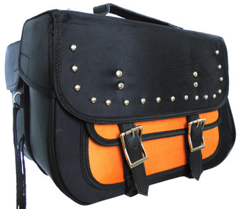 Textile Studded Zip-Off Saddle Bag Black & Orange