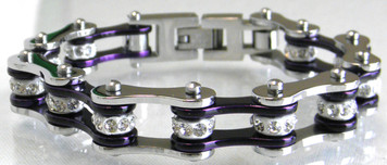 Two Tone Stainless Steel Bracelet, Silver/Candy Purple W/White Crystal Centers