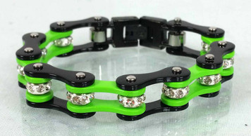 Two Tone Stainless Steel Bracelet, Black/Green W/White Crystal Centers