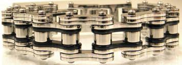 "3/4"" Wide Two Tone Silver & Black Stainless Steel Bracelet"