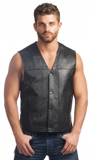 Men's Black Leather Vest.