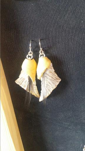 Bone Feather Earrings