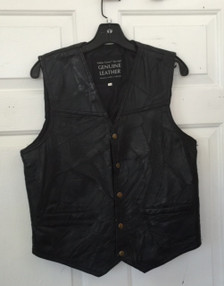 Italian Stone Patch Black Leather Vest