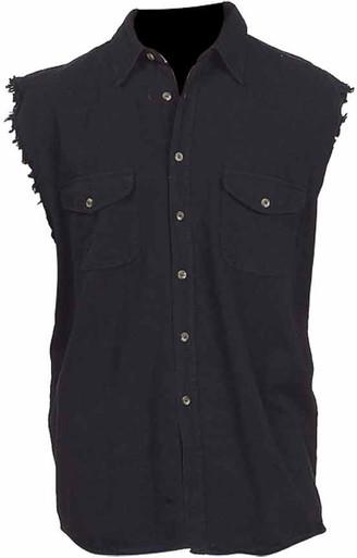 Black Cutoff Button-up/Collar